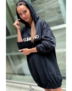 Lang Velsatino Swearshirt med hætte i sort
