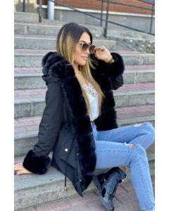 Dame modejakke med stor pels - Alassio i sort