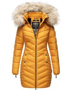 Dame Vinter dyne jakke med pels Navahoo Nimala - Gul
