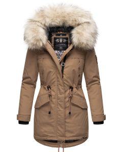 Dame vinterjakke med pels Lady like - Taupe