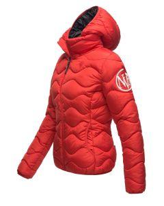 Dame dyne jakke med hætte Key Color Rød