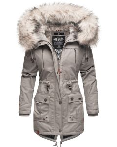 Dame vinterjakke med pels Honingfee - Grå