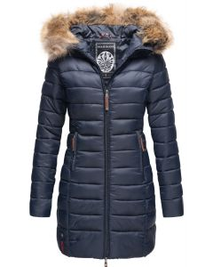 Dame dunjakke med pels - NewRose Navy Blå