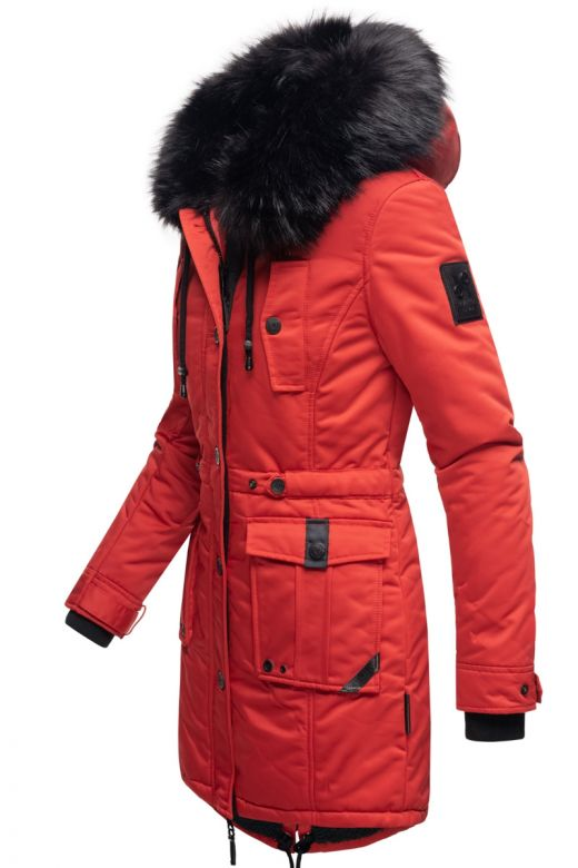 Dame Vinterjakke med pels Luluna Prinsess - Rød