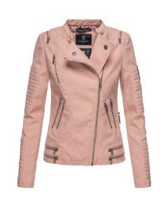 Læder look dame jakke i Rosa