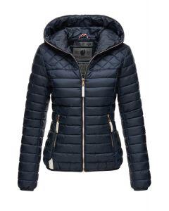 Dame dun jakke med hætte Smukke Navy