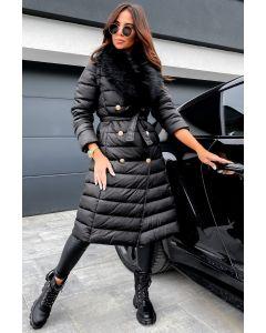 Dame Vinterjakke i lang model Alexa - Sort