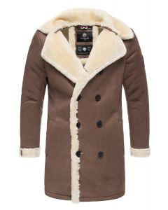 Herre vinter jakke i ruskind look - Brun