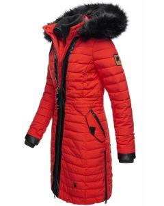 Dame Vinter dyne jakke med pels -Tirana Rød