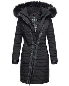 Dame Vinter dyne jakke med pels -Tirana Sort