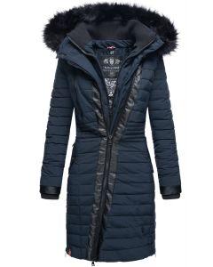 Dame Vinter dyne jakke med pels -Tirana Navy