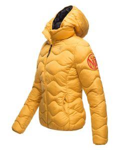 Dame dyne jakke med hætte Key Color Gul