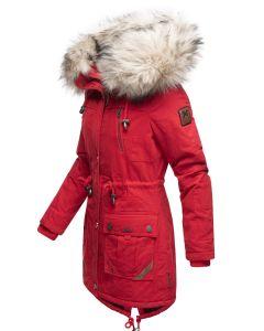 Dame vinterjakke med pels Honingfee - Rød