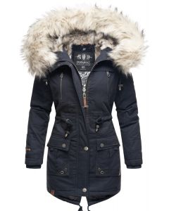 Dame vinterjakke med pels Honingfee - Navy