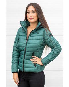 Dame dun jakke med hætte Lulana Jungle Green
