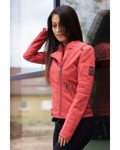 Læder look dame jakke i Rød