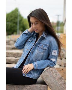 Flot jeans jakke i Lys Blå