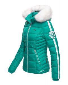 Dame vinterjakke med pels Kingaas - Turkis