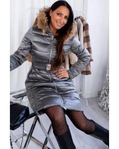 Dame Vinterjakke i lang model Lucca - Sølv Grå