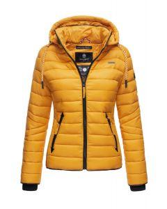 Dame dun jakke med hætte Lulana Gul