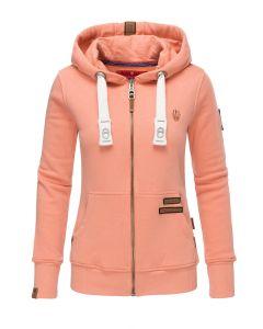Dame Lux sweatjakke / hættetrøje Mia - Apricot
