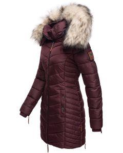 Dame Vinter dyne jakke med pels Nimala - Wine