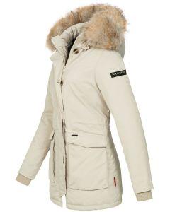 Dame vinterjakke med pels snow engel - Off White