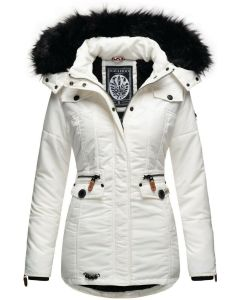Dame Vinterjakke med pels skat i hvid