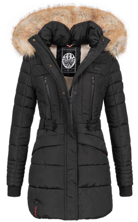 Dame vinterjakke med pels - Nova Sort