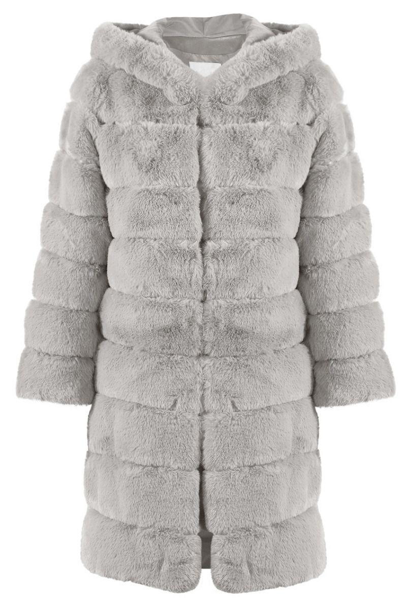 Ginna Faux fur jakke i Grå