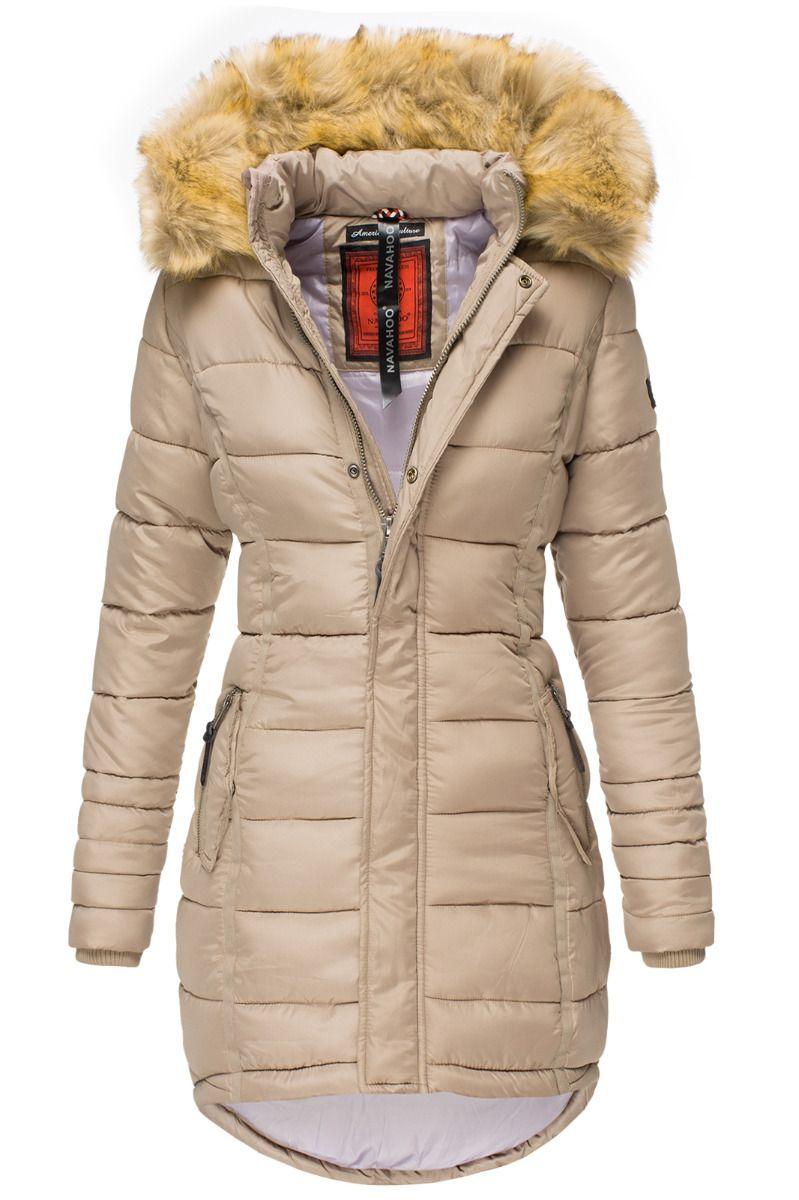 Dame Vinter dun jakke Papaya Taupe