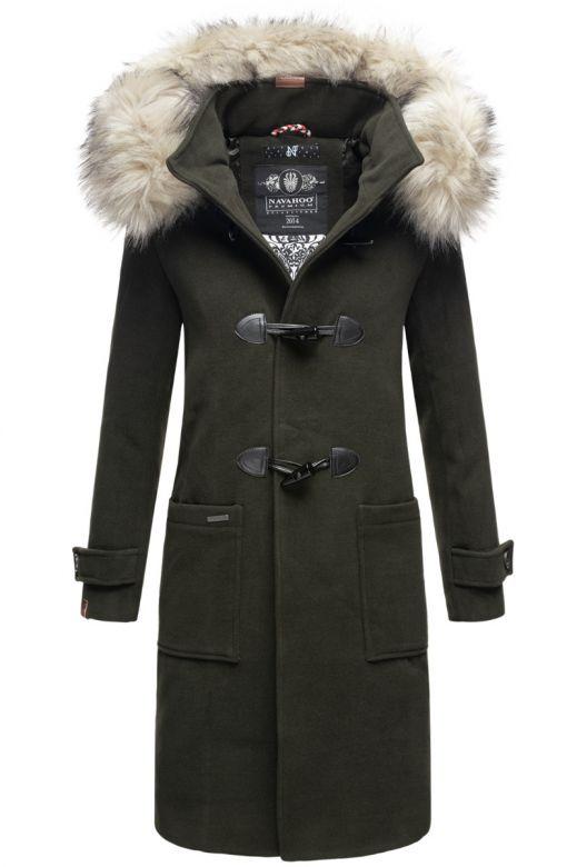 Lang Dame Frakke med Pels - Oksana Mørk Grøn
