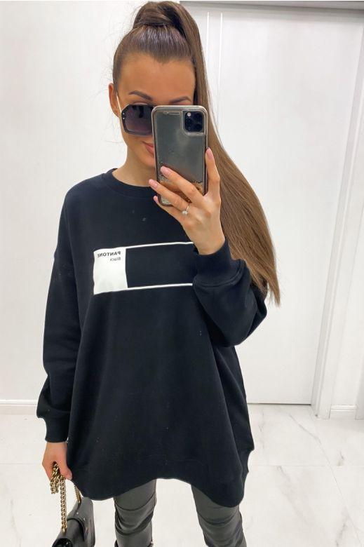 Lang Swearshirt i sort med print.